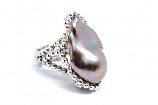 Inel din Argint cu Perla Baroc Gri 0
